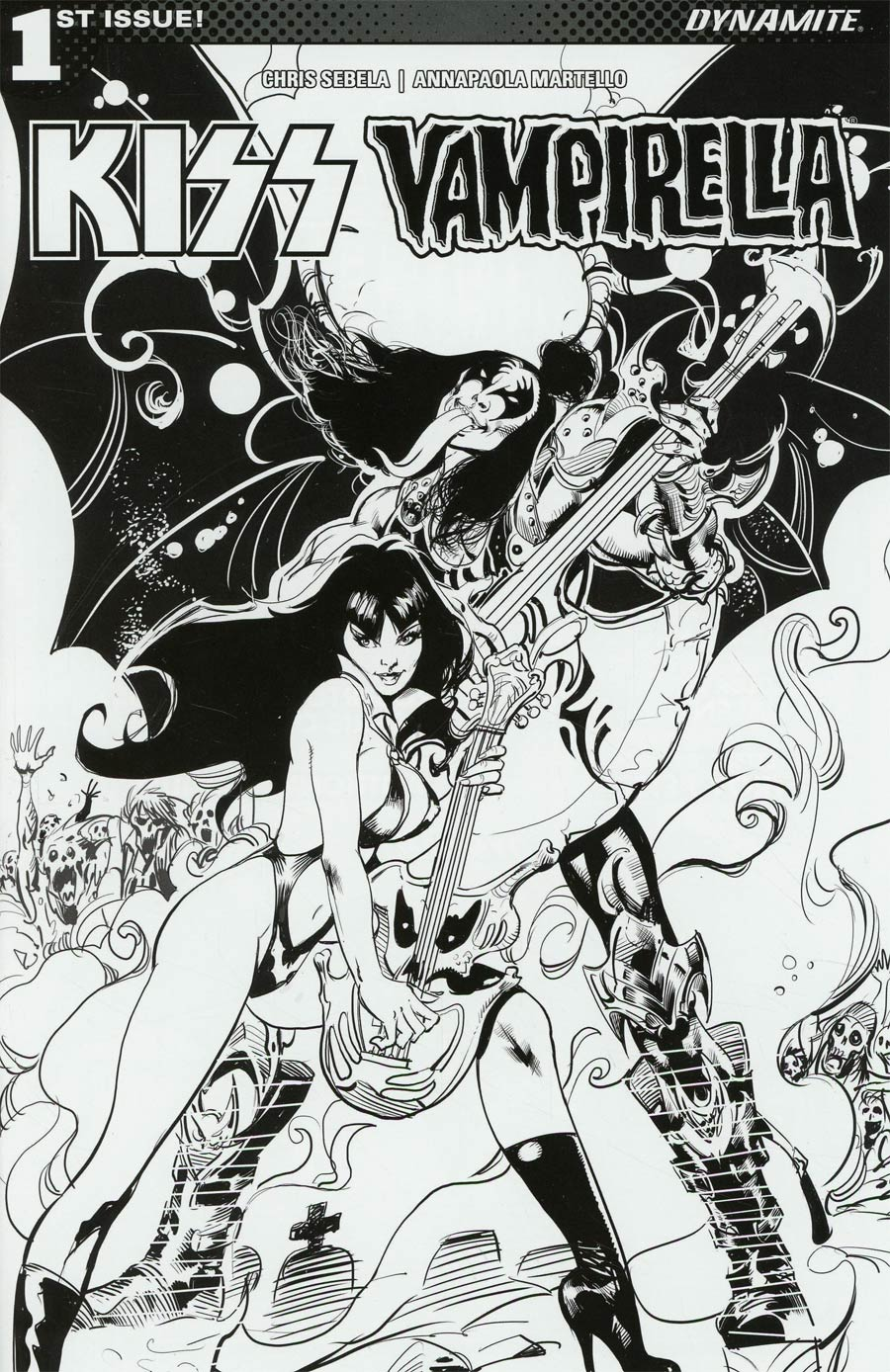 KISS Vampirella #1 Cover F Incentive Roberto Castro Black & White Cover