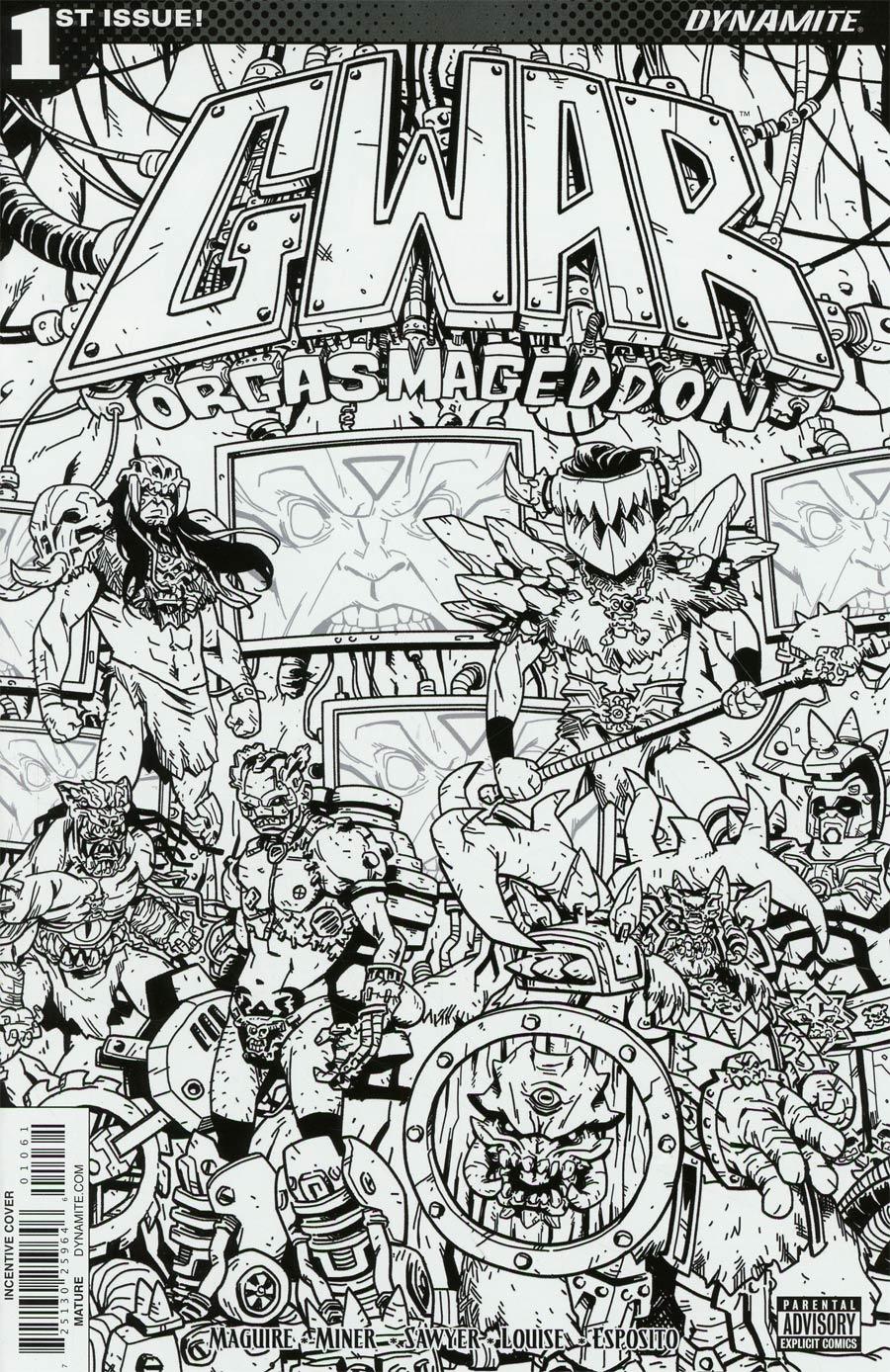 GWAR Orgasmageddon #1 Cover F Incentive Jonathan Brandon Sawyer Black & White Cover