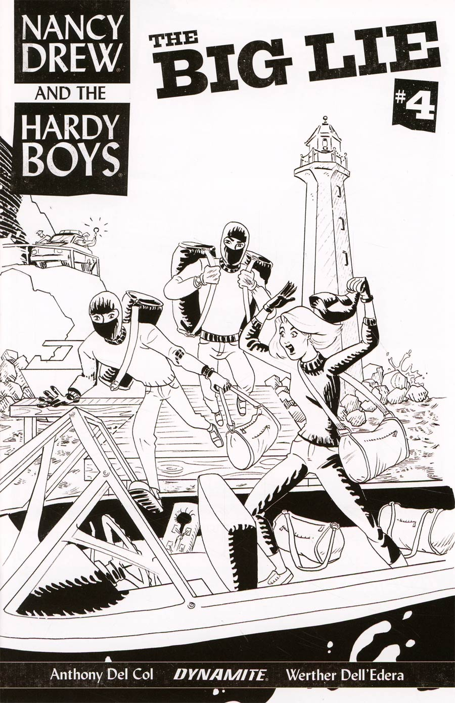 Nancy Drew And The Hardy Boys The Big Lie #4 Cover C Incentive Dave Bullock Black & White Cover