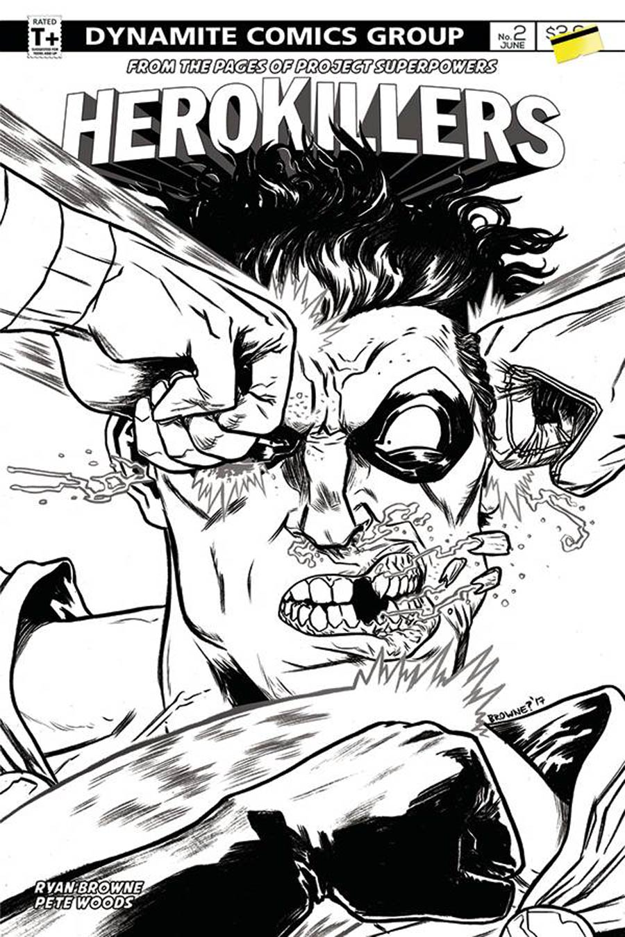 Project Superpowers Hero Killers #2 Cover C Incentive Ryan Browne Black & White Cover