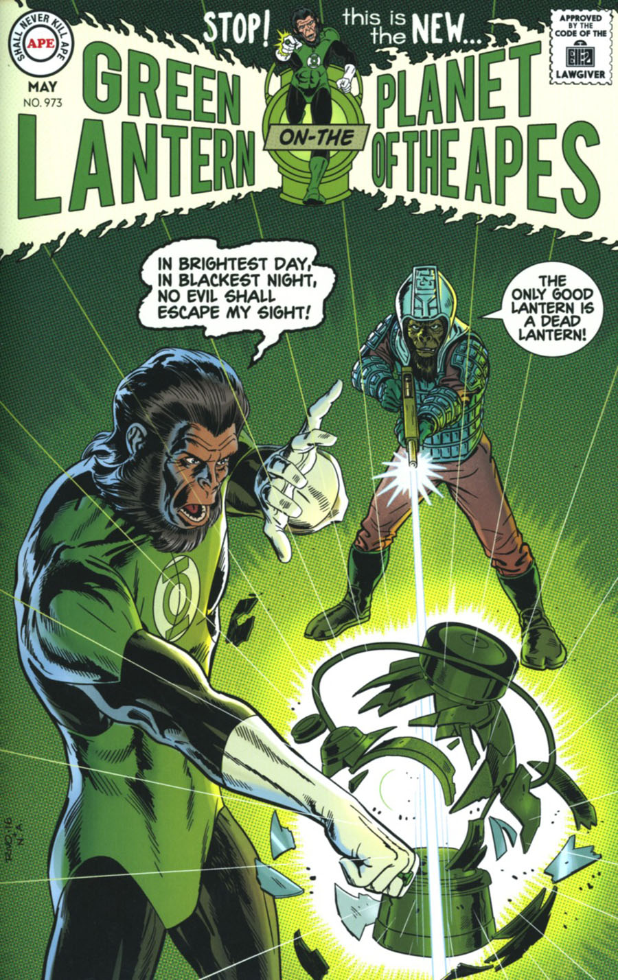 Planet Of The Apes Green Lantern #3 Cover D Incentive Paul Rivoche Classic Virgin Variant Cover