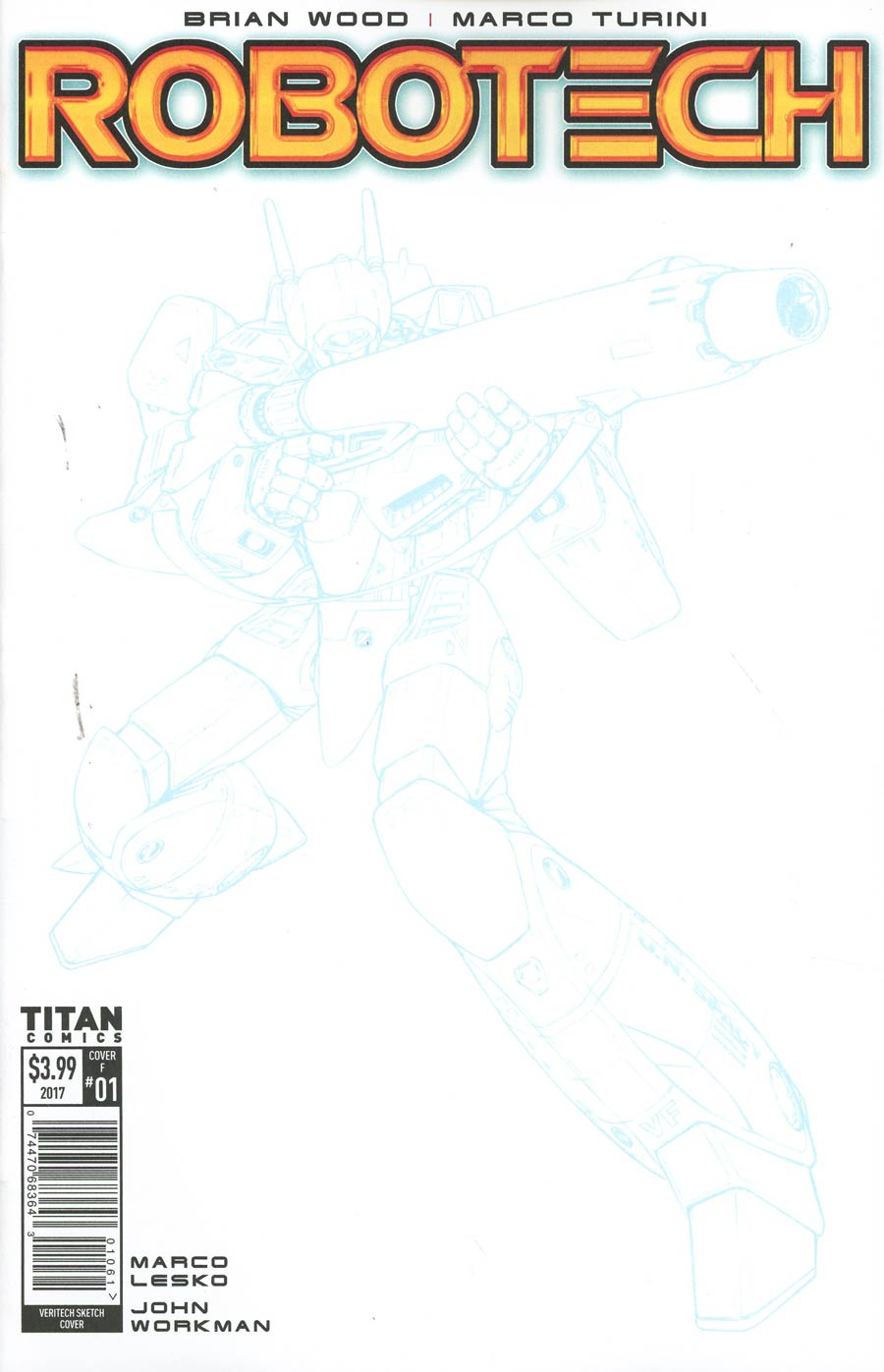 Robotech Vol 3 #1 Cover F Variant Blue Line Sketch Cover