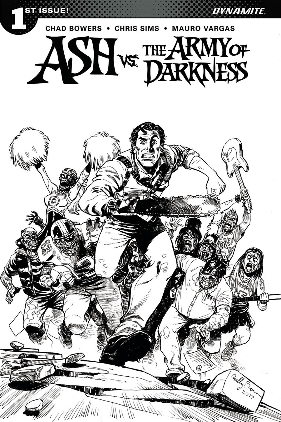 Ash vs The Army Of Darkness #1 Cover F Incentive Reilly Brown Black & White Cover