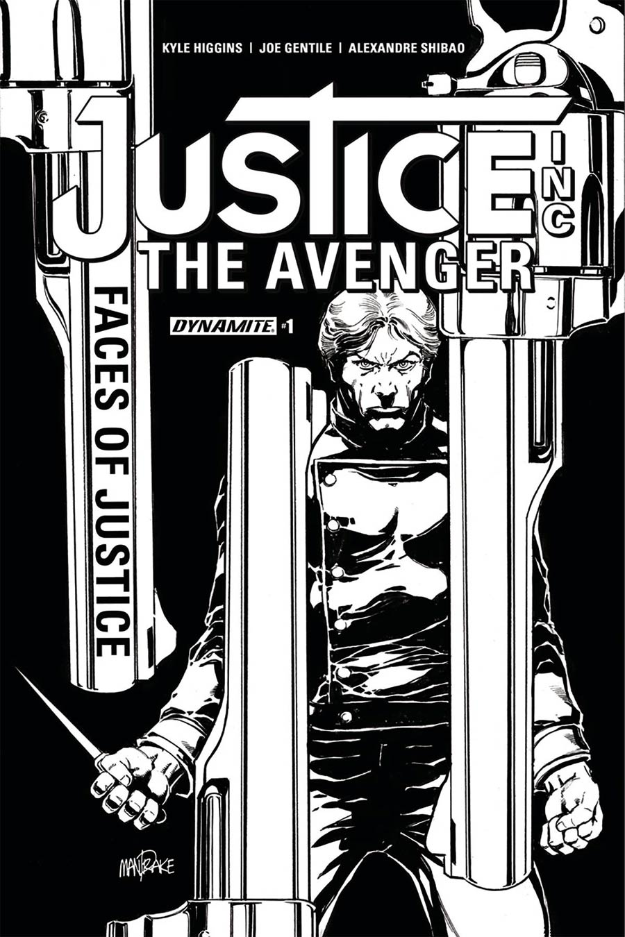 Justice Inc The Avenger Faces Of Justice #1 Cover C Incentive Tom Mandrake Black & White Cover