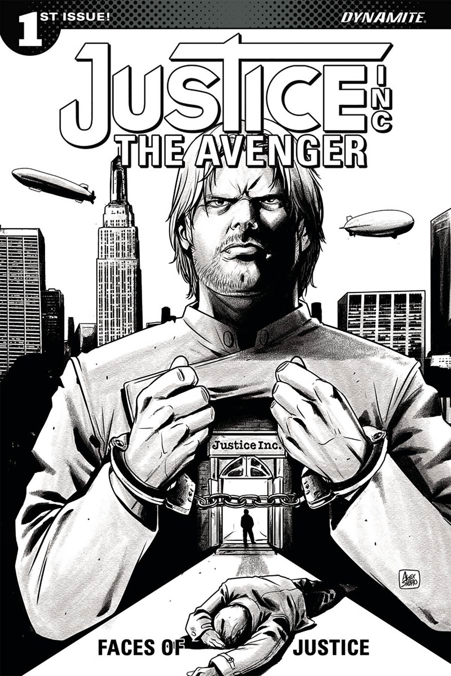 Justice Inc The Avenger Faces Of Justice #1 Cover D Incentive Alexandre Shibao Black & White Cover