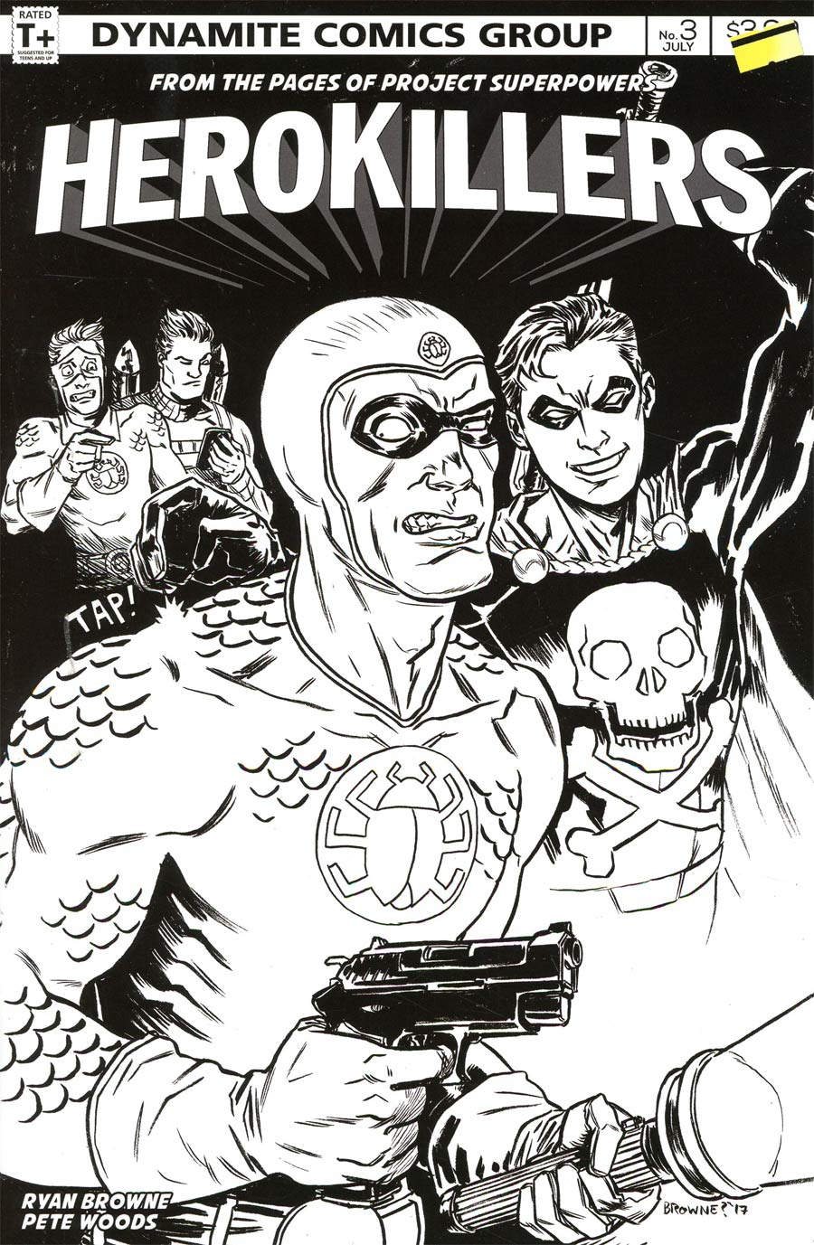 Project Superpowers Hero Killers #3 Cover C Incentive Ryan Browne Black & White Cover