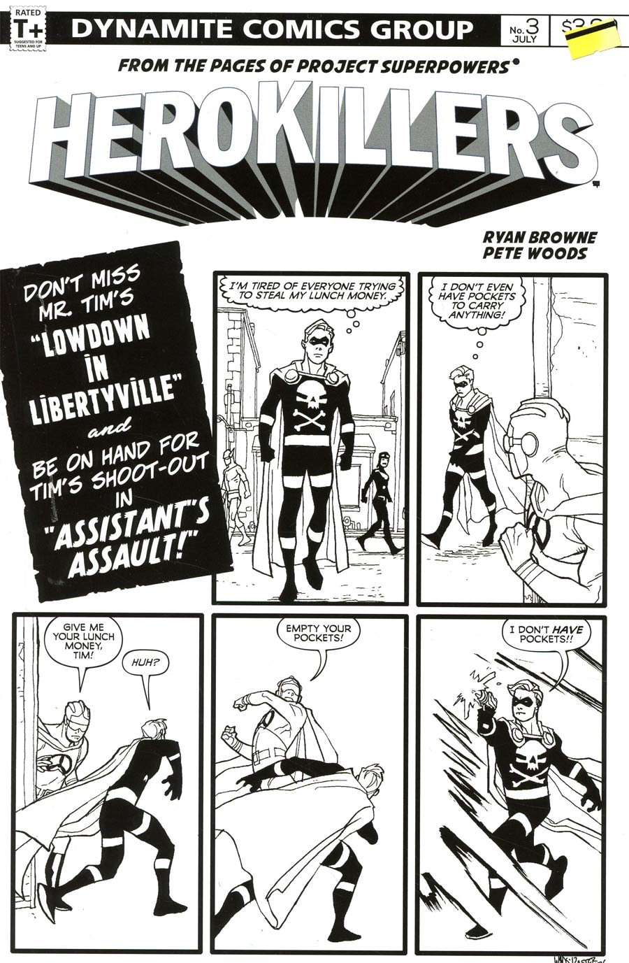 Project Superpowers Hero Killers #3 Cover D Incentive Pete Woods Black & White Cover