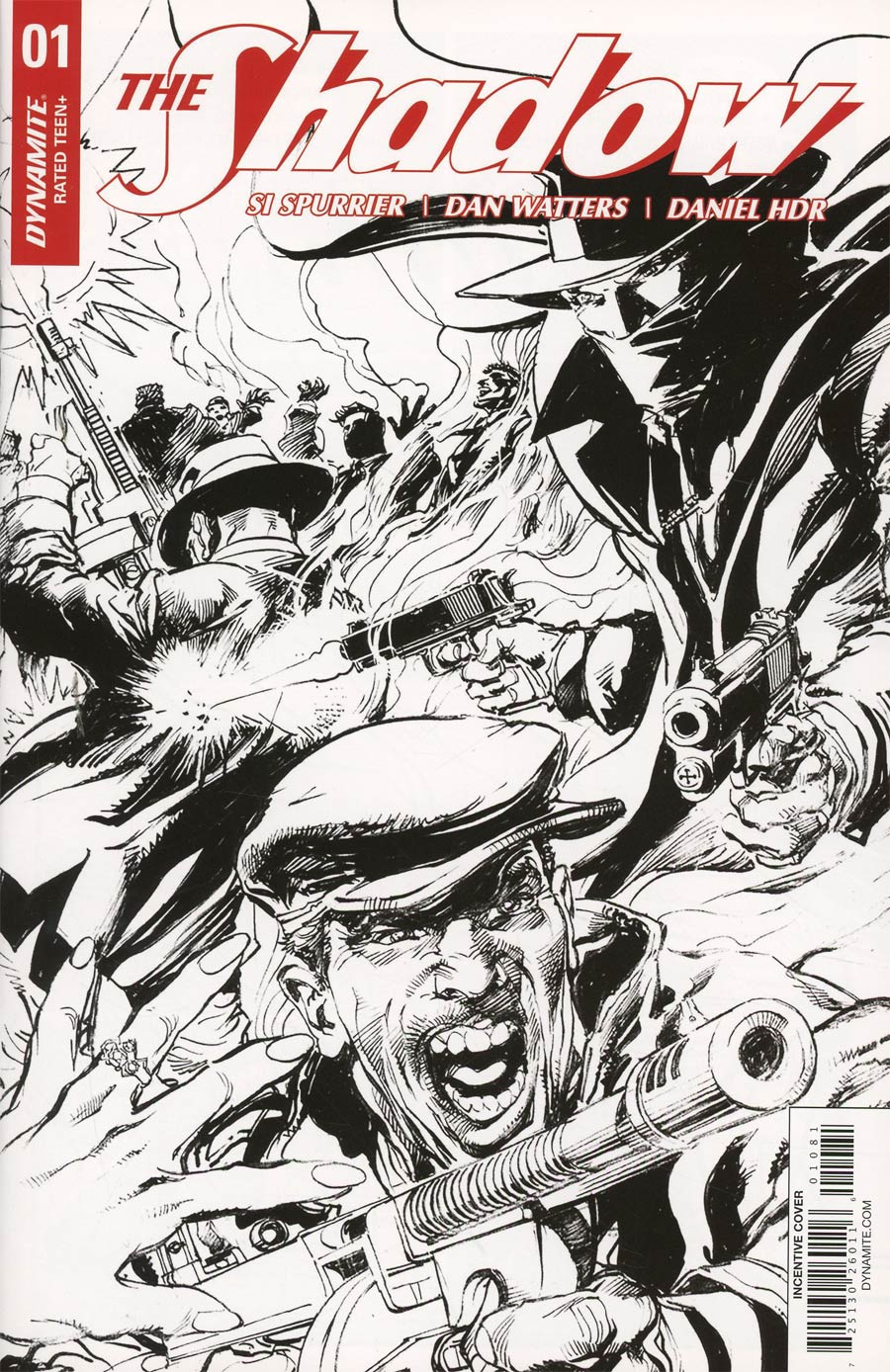 Shadow Vol 7 #1 Cover H Incentive Neal Adams Black & White Cover