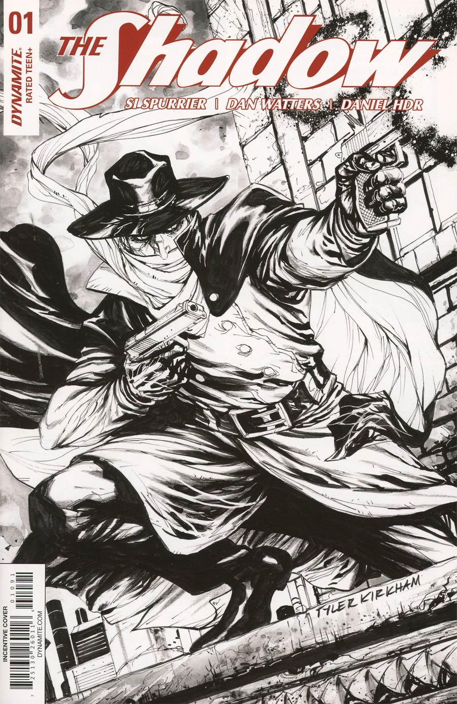 Shadow Vol 7 #1 Cover I Incentive Tyler Kirkham Black & White Cover