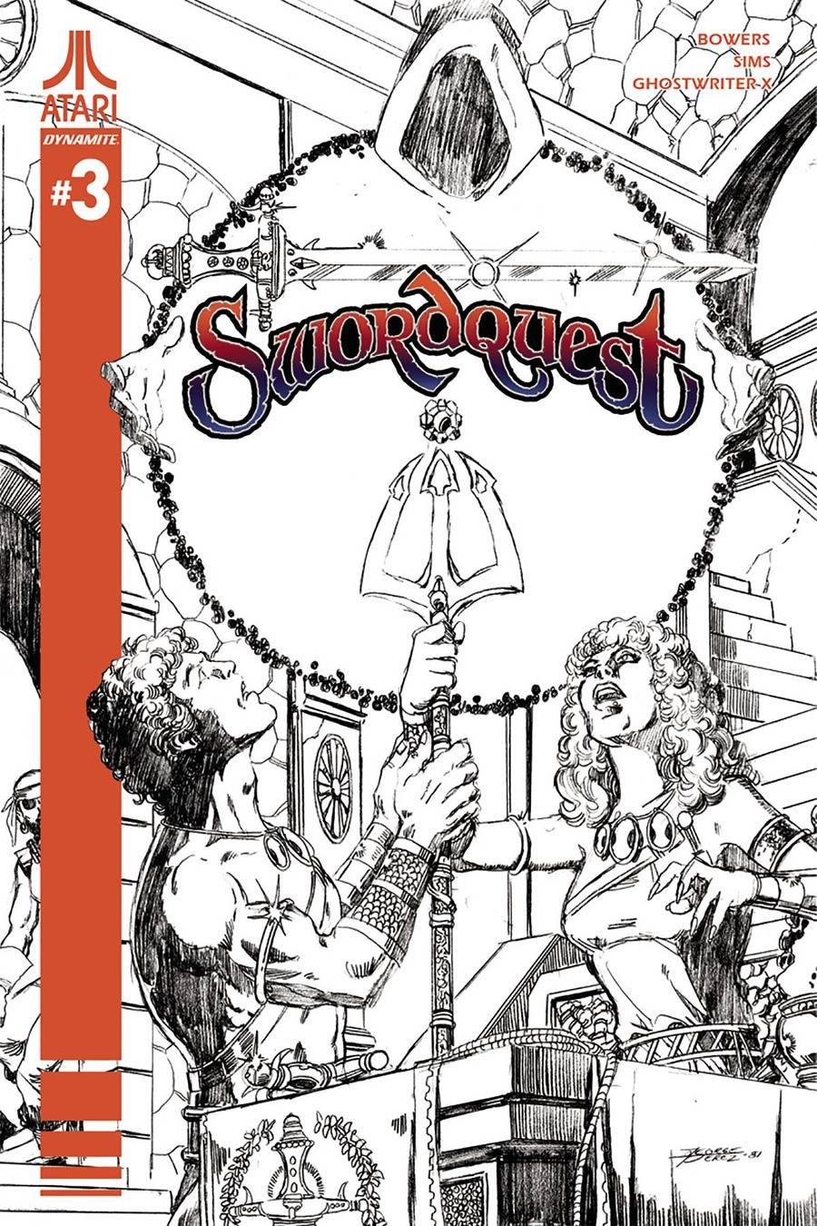 Swordquest #3 Cover D Incentive George Perez Black & White Cover