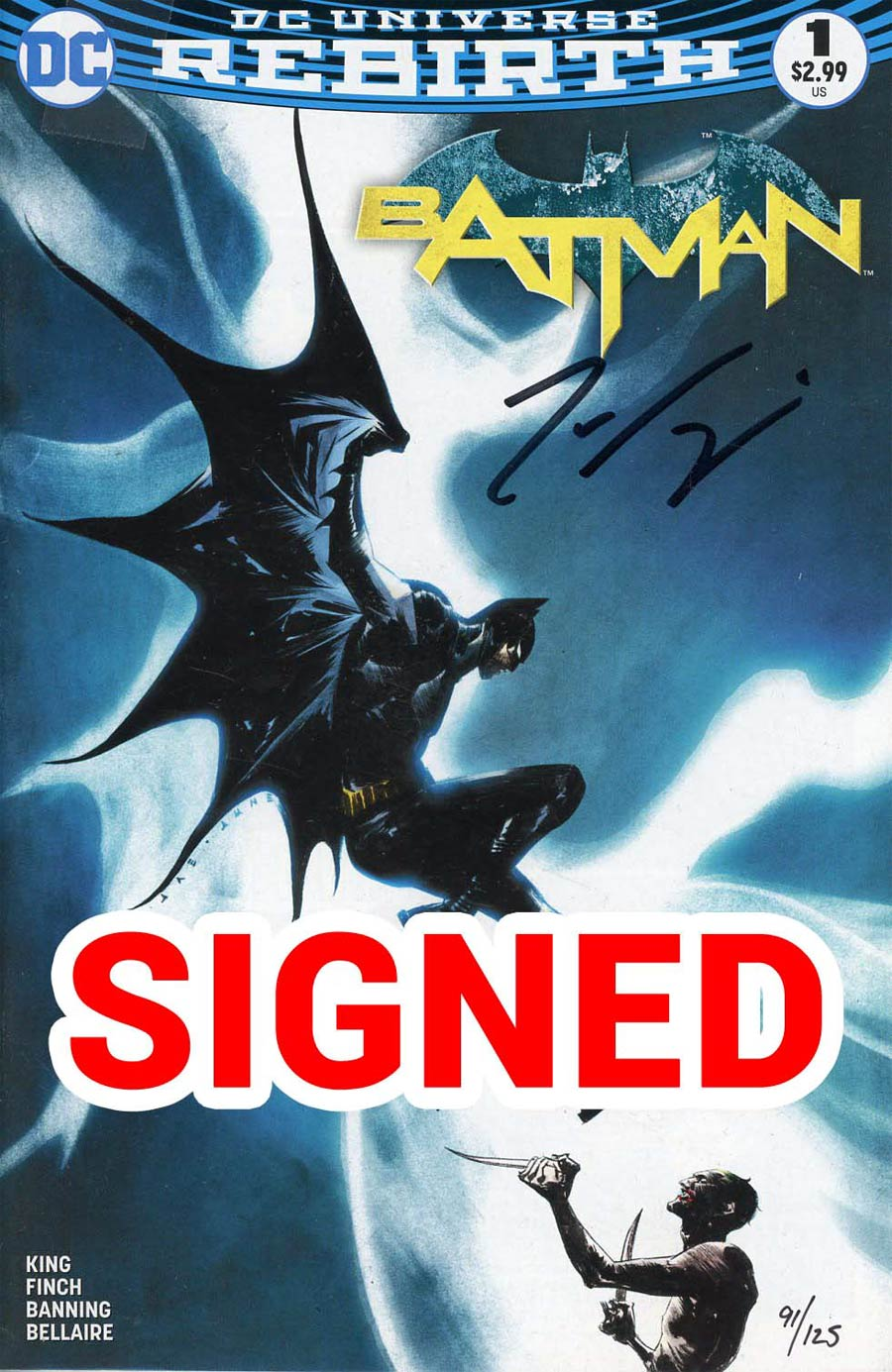 Batman Vol 3 #1 Cover S DF Exclusive Jae Lee Variant Cover Signed By Tom King