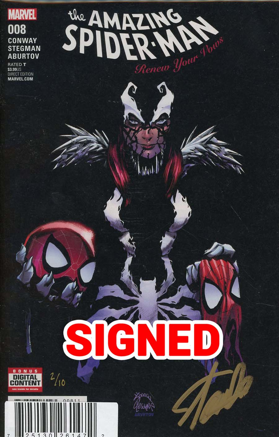 Amazing Spider-Man Renew Your Vows Vol 2 #8 Cover E DF Gold Elite Signature Series Signed By Stan Lee