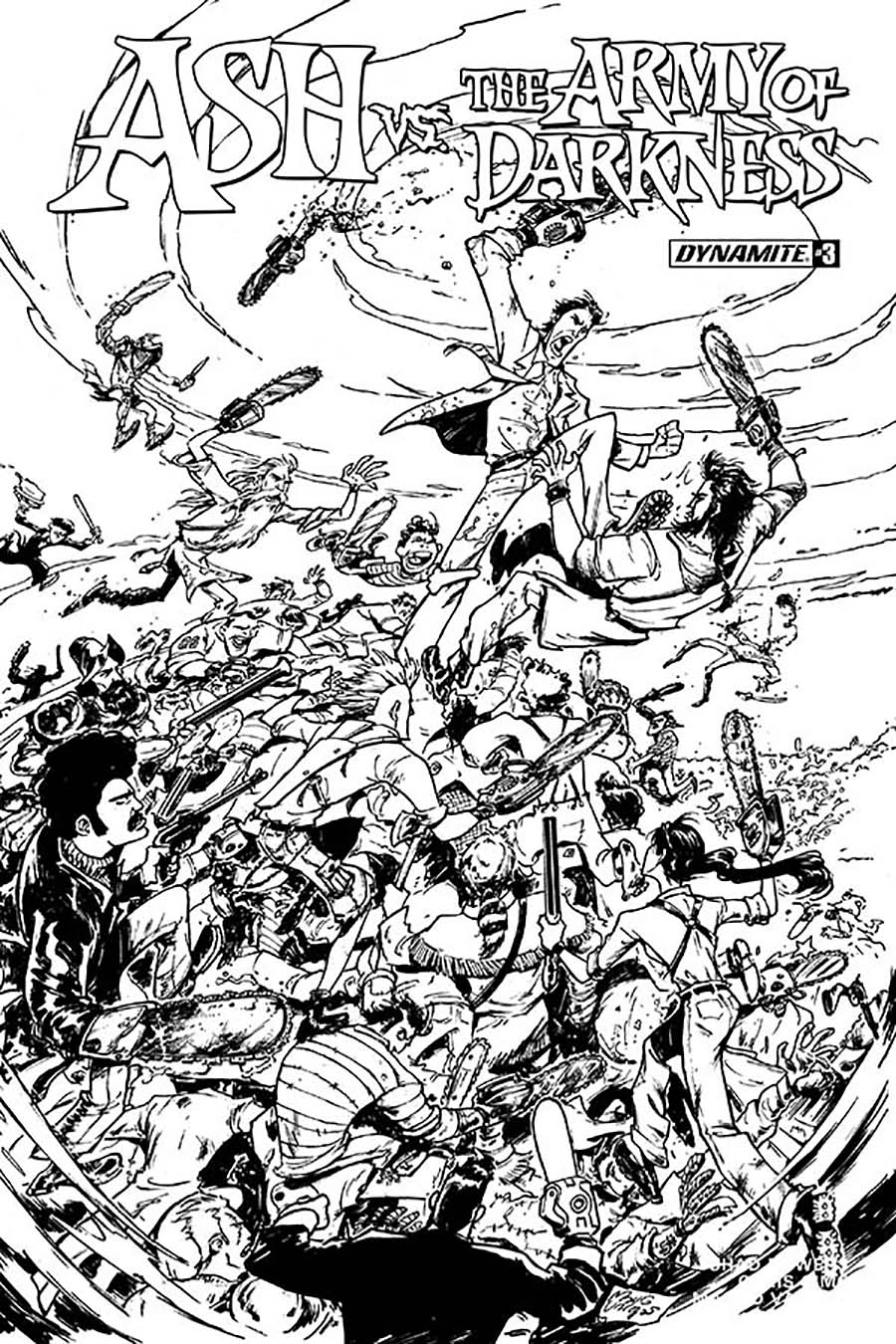 Ash vs The Army Of Darkness #3 Cover D Incentive Mauro Vargas Black & White Cover