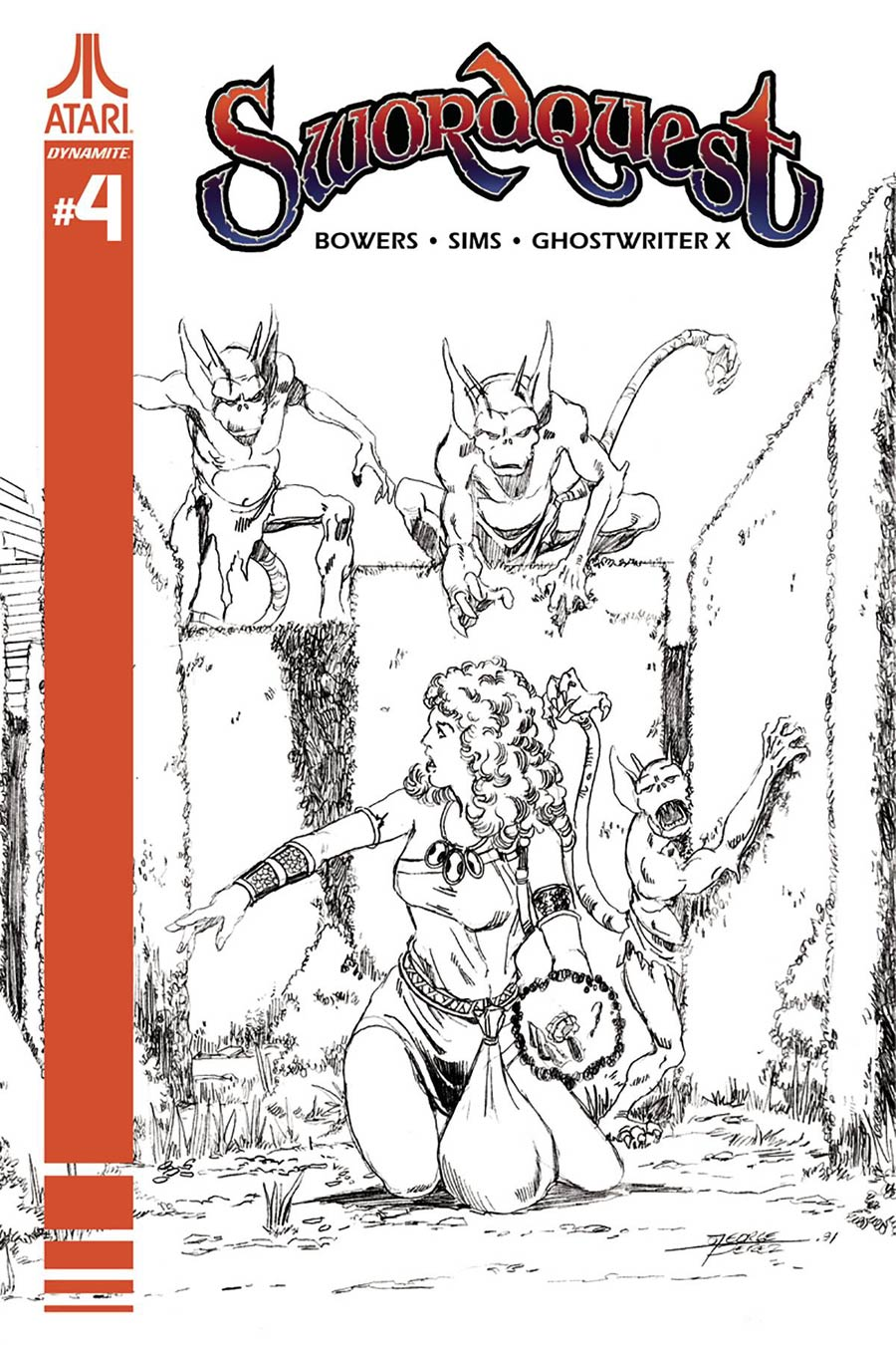 Swordquest #4 Cover D Incentive George Perez Black & White Cover