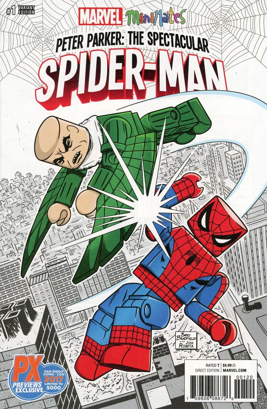 Peter Parker Spectacular Spider-Man #1 Cover O SDCC 2017 Exclusive Barry Bradfield Minimates Variant Cover