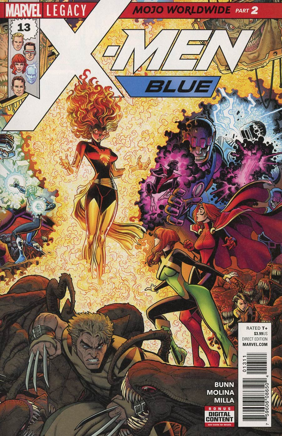 X-Men Blue #13 Cover A 1st Ptg Regular Arthur Adams Connecting B Cover (Mojo Worldwide Part 2)(Marvel Legacy Tie-In)