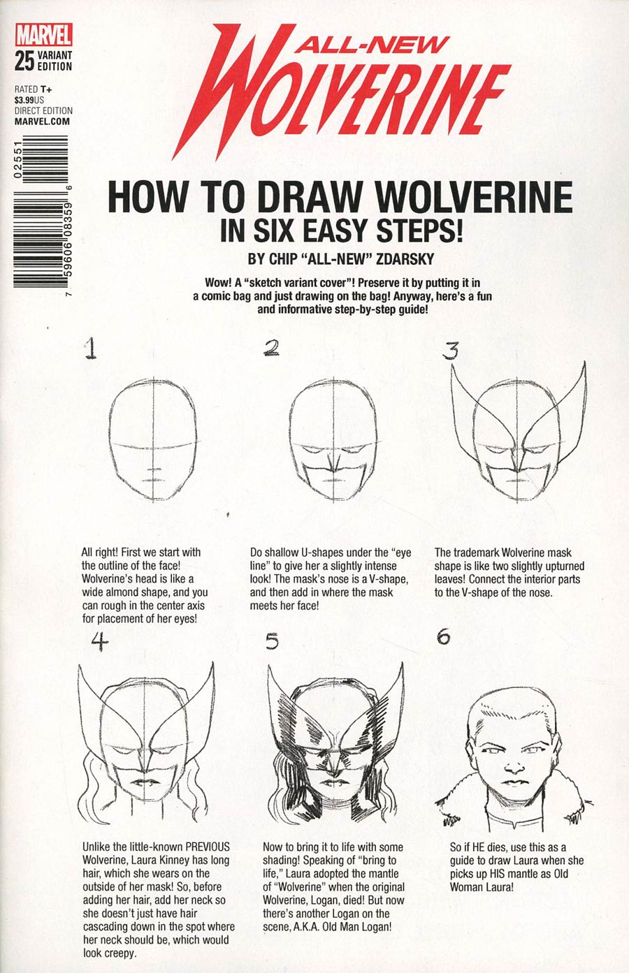 All-New Wolverine #25 Cover D Variant Chip Zdarsky How-To-Draw Cover (Marvel Legacy Tie-In)