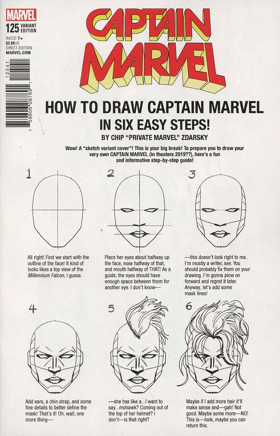 Captain Marvel Vol 8 #125 Cover C Variant Chip Zdarsky How-To-Draw Cover (Marvel Legacy Tie-In)