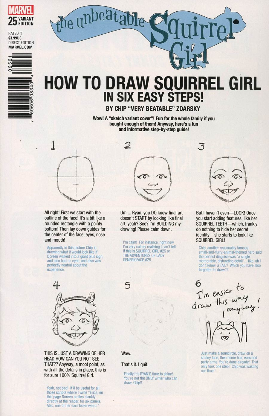 Unbeatable Squirrel Girl Vol 2 #25 Cover B Variant Chip Zdarsky How-To-Draw Cover