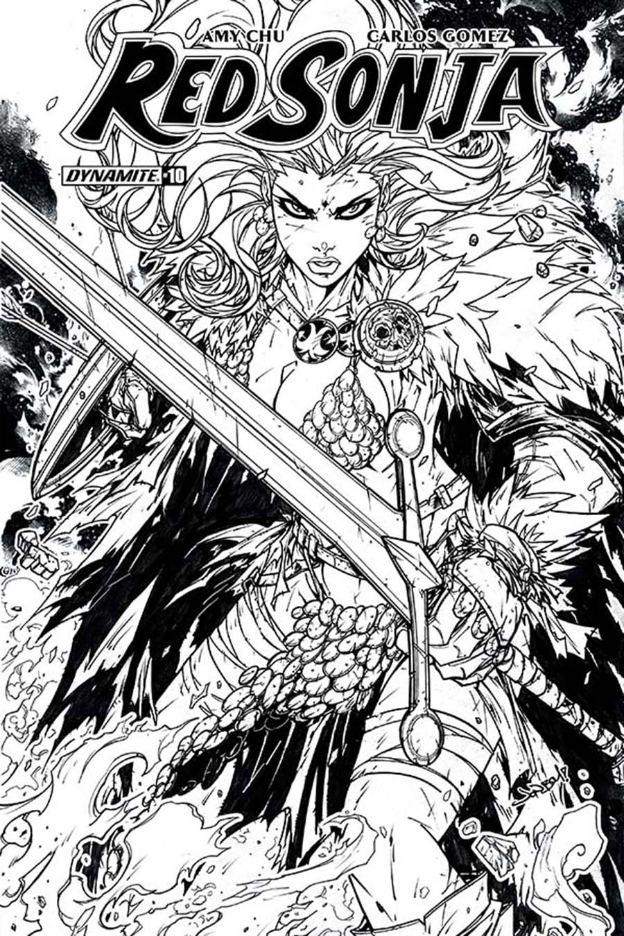 Red Sonja Vol 7 #10 Cover H Incentive Jonboy Meyers Black & White Cover