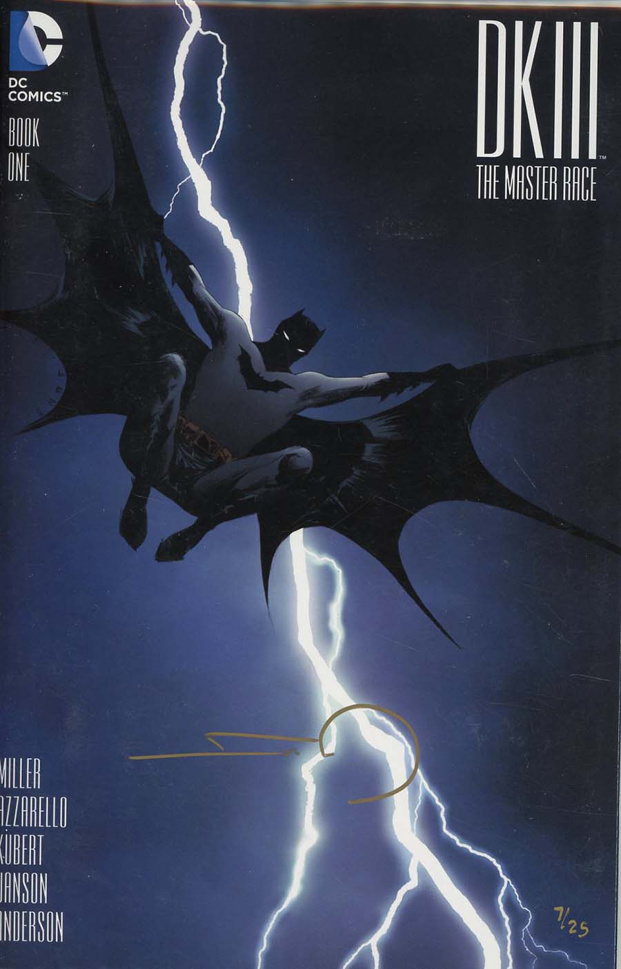 Dark Knight III The Master Race #1 Cover Z-Z-C DF Exclusive Homage Variant Cover Signed By Frank Miller