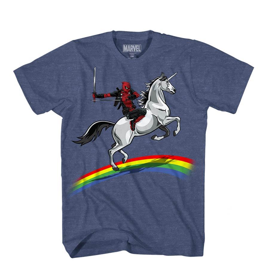 Deadpool Dead Glory Blue T-Shirt Large