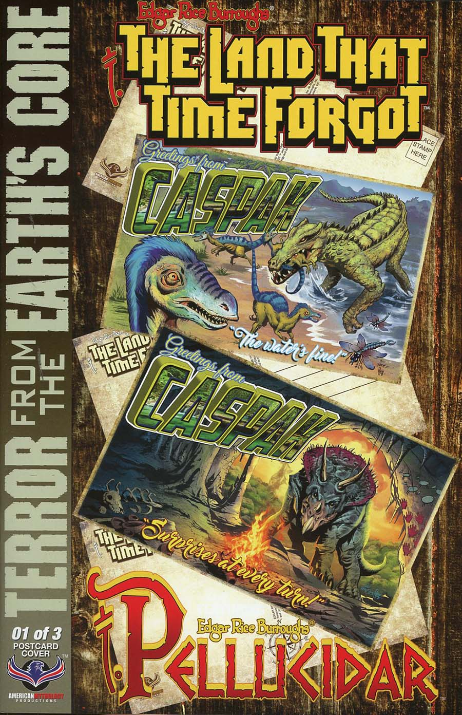 Edgar Rice Burroughs Land That Time Forgot Terror From The Earths Core #1 Cover C Incentive Dan Parsons Wish You Were Here Postcard Variant Cover