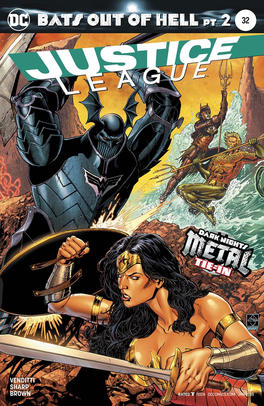 Justice League Vol 3 #32 Cover A Regular Ethan Van Sciver Connecting Cover (Bats Out Of Hell Part 2)(Dark Nights Metal Tie-In)