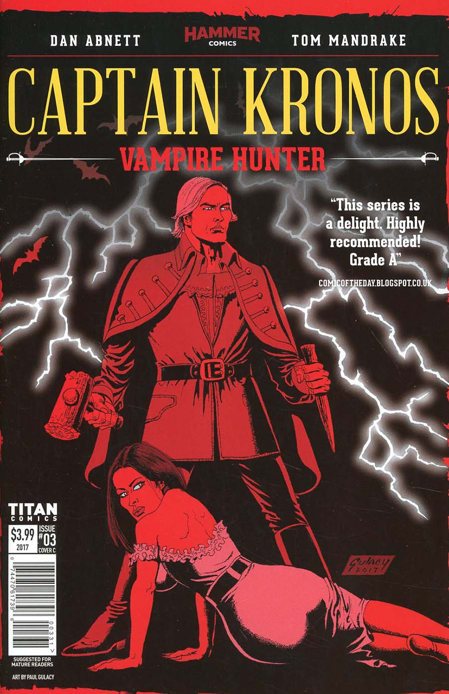 Hammer Comics Captain Kronos Vampire Hunter #3 Cover C Variant Paul Gulacy Cover