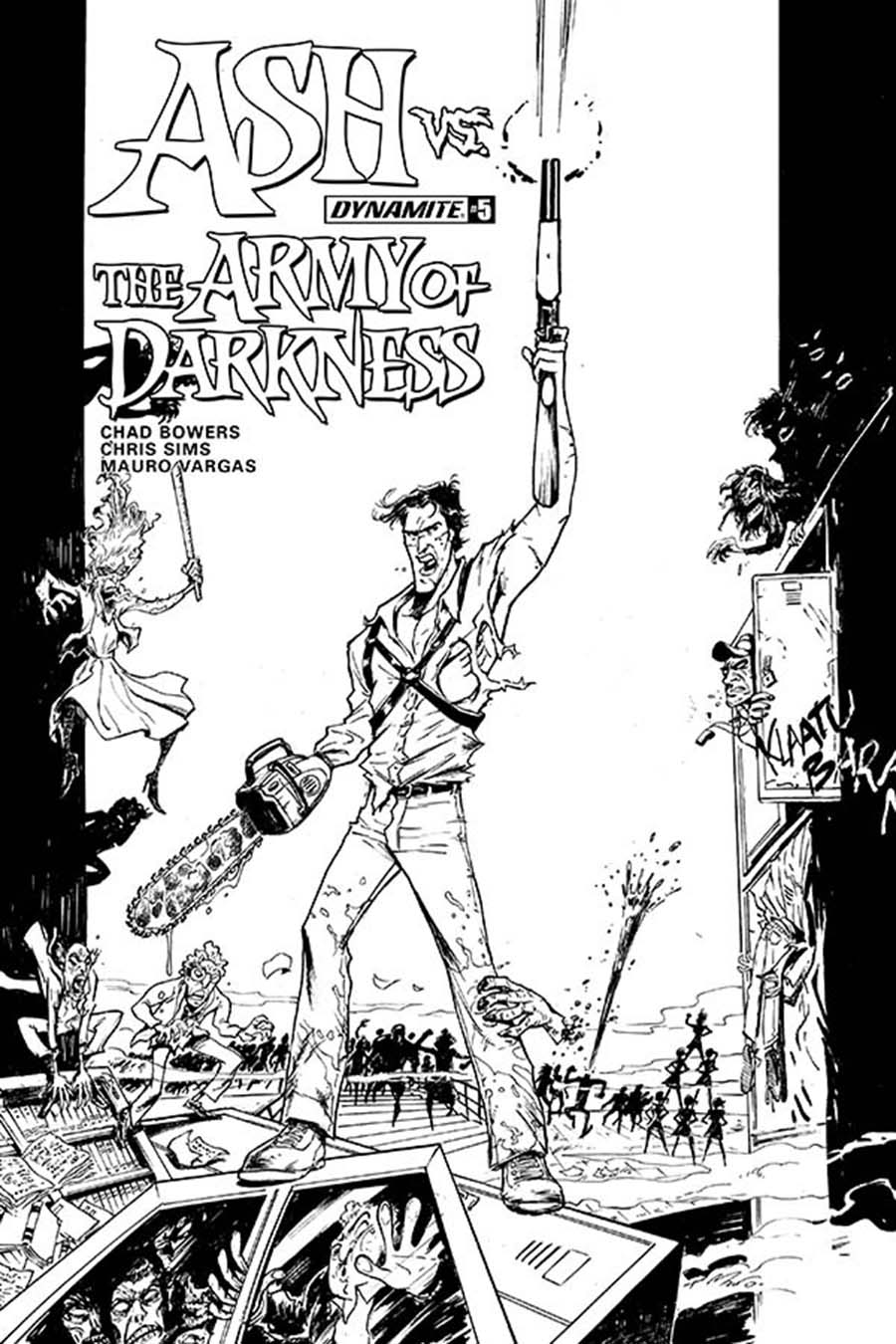 Ash vs The Army Of Darkness #5 Cover D Incentive Mauro Vargas Black & White Cover