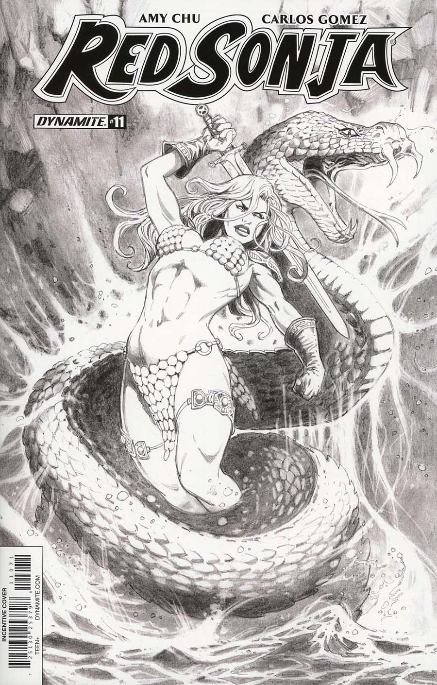 Red Sonja Vol 7 #11 Cover G Incentive Jan Duursema Black & White Cover