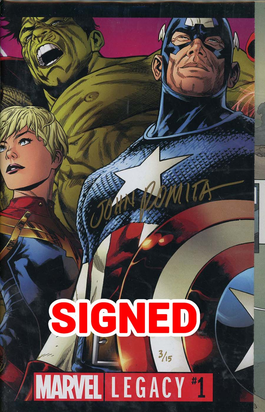Marvel Legacy #1 Cover Q DF Ultra-Limited Elite Gold Signature Series Signed By John Romita Sr