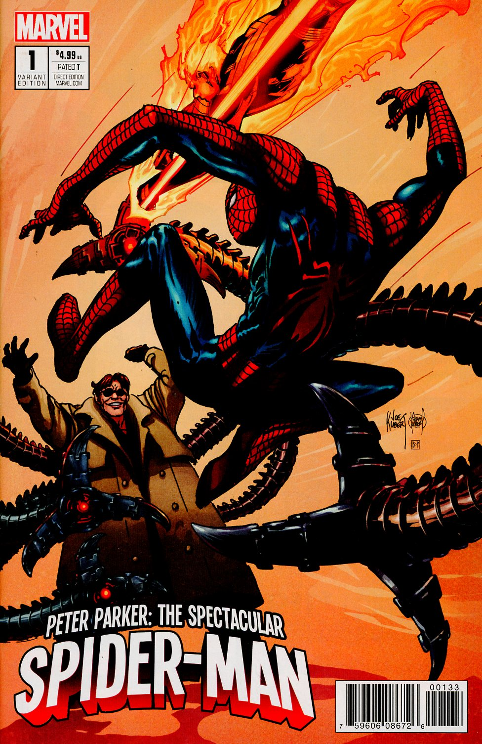 Peter Parker Spectacular Spider-Man #1 Cover S ComicSketchArt.com Exclusive Joe Kubert & Adam Kubert Color Variant Cover