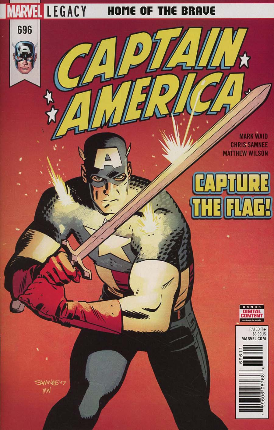 Captain America Vol 8 #696 Cover A 1st Ptg Regular Chris Samnee Cover (Marvel Legacy Tie-In)
