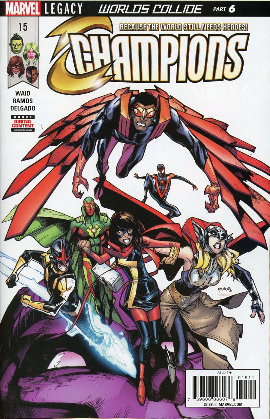 Champions (Marvel) Vol 2 #15 Cover A Regular Humberto Ramos Cover (Worlds Collide Part 6)(Marvel Legacy Tie-In)