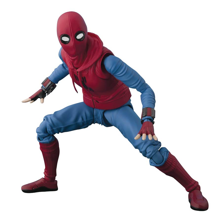 Marvel S. H. Figuarts - Spider Man Homecoming - Spider-Man Homemade Suit Ver. & Tamashii Option Act Wall Action Figure