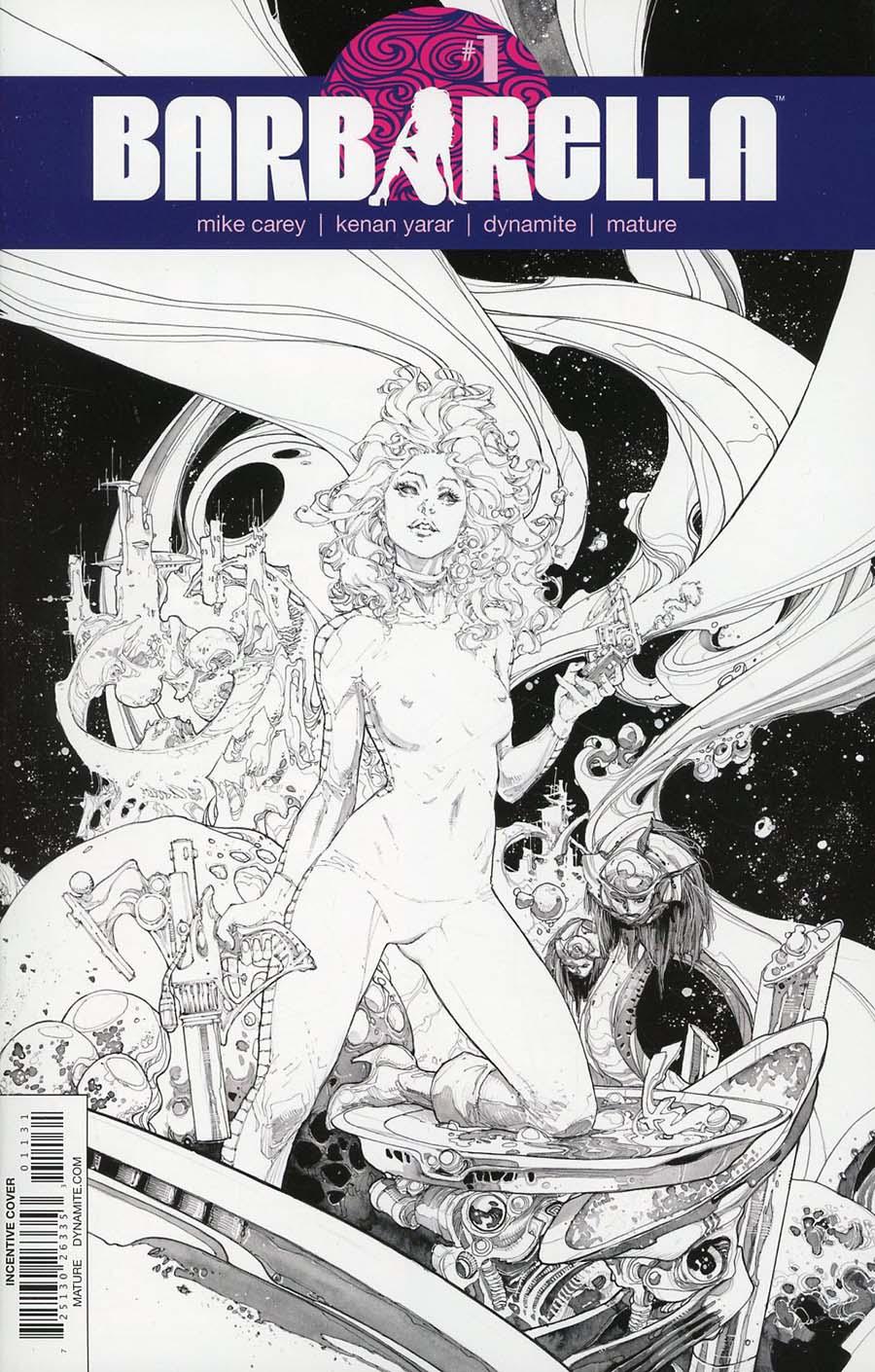 Barbarella #1 Cover O Incentive Kenneth Rocafort Black & White Cover