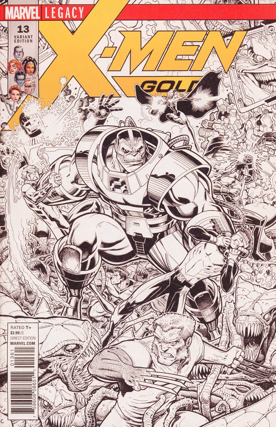 X-Men Gold #13 Cover F Incentive Arthur Adams Connecting A Black & White Cover (Mojo Worldwide Part 1)(Marvel Legacy Tie-In)