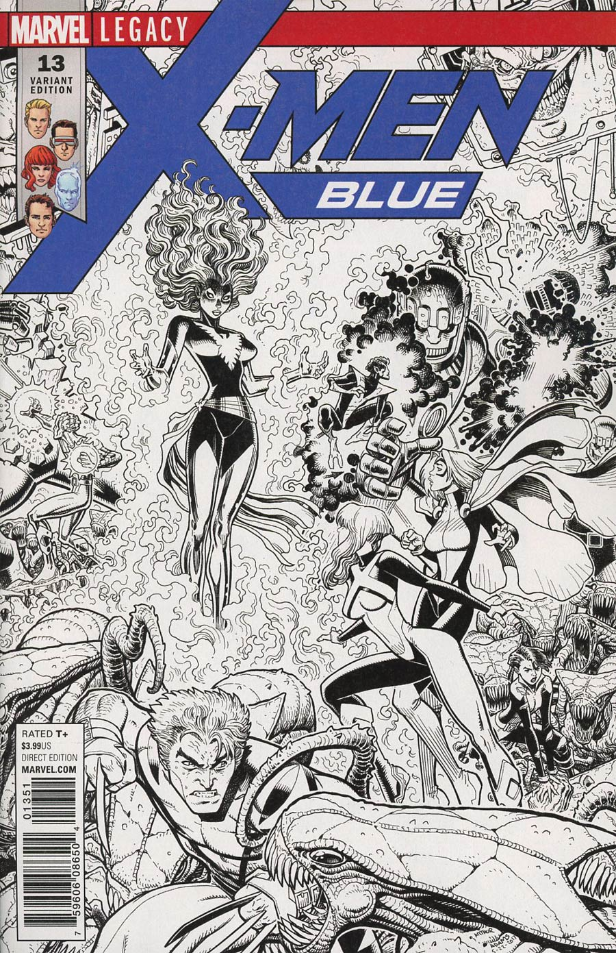 X-Men Blue #13 Cover E Incentive Arthur Adams Connecting B Black & White Cover (Mojo Worldwide Part 2)(Marvel Legacy Tie-In)