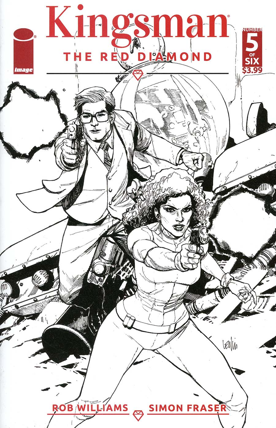Kingsman Red Diamond #5 Cover B Variant Leinil Francis Yu Black & White Cover