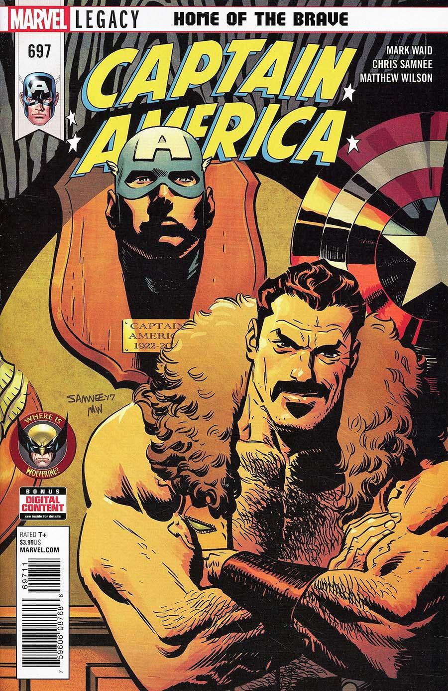 Captain America Vol 8 #697 Cover A 1st Ptg Regular Chris Samnee Cover (Marvel Legacy Tie-In)