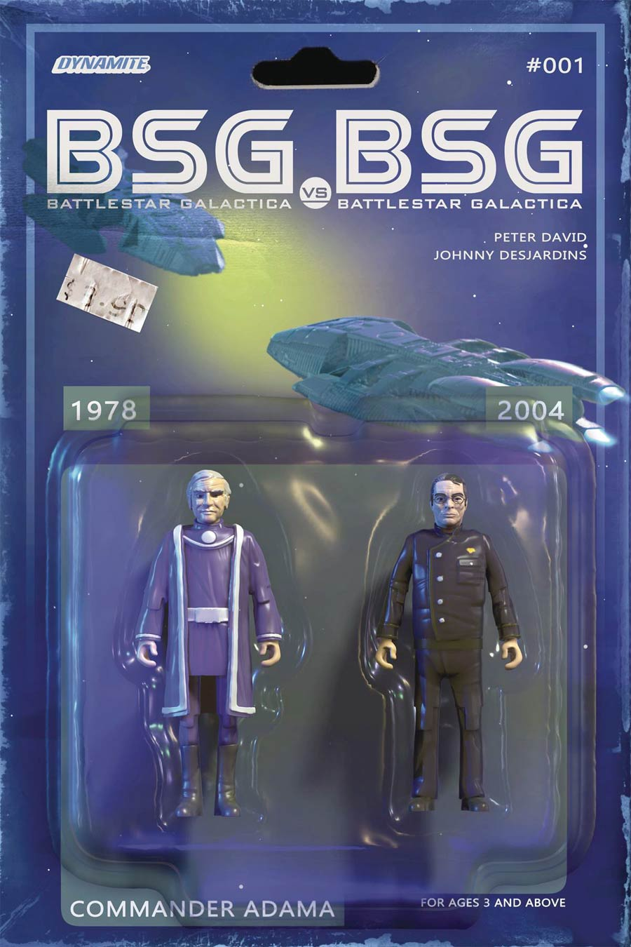 Battlestar Galactica vs Battlestar Galactica #1 Cover C Variant Michael Adams Adama Action Figure Cover
