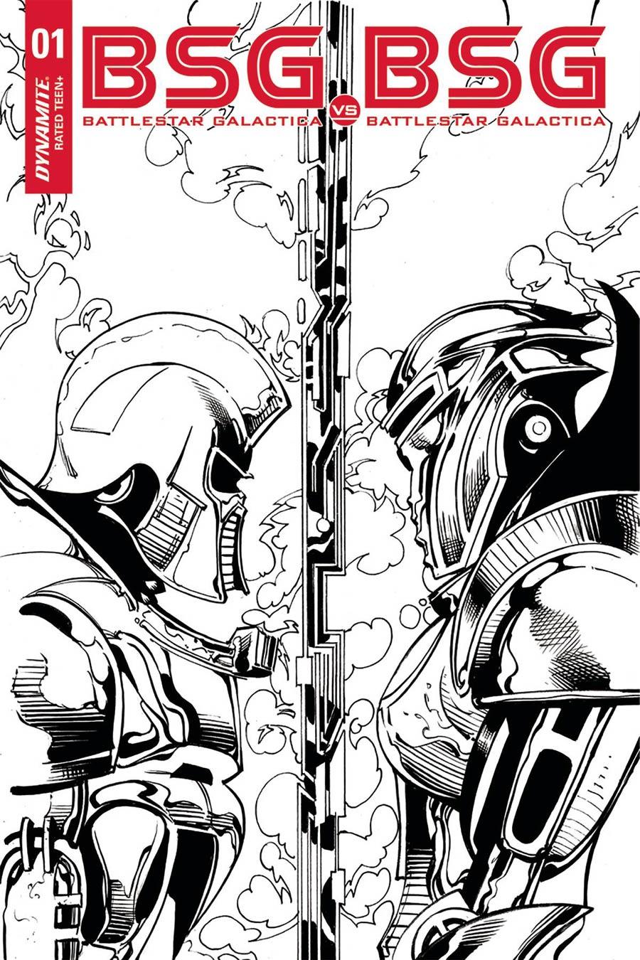 Battlestar Galactica vs Battlestar Galactica #1 Cover M Incentive Roberto Castro Cylon Split Profile Black & White Cover