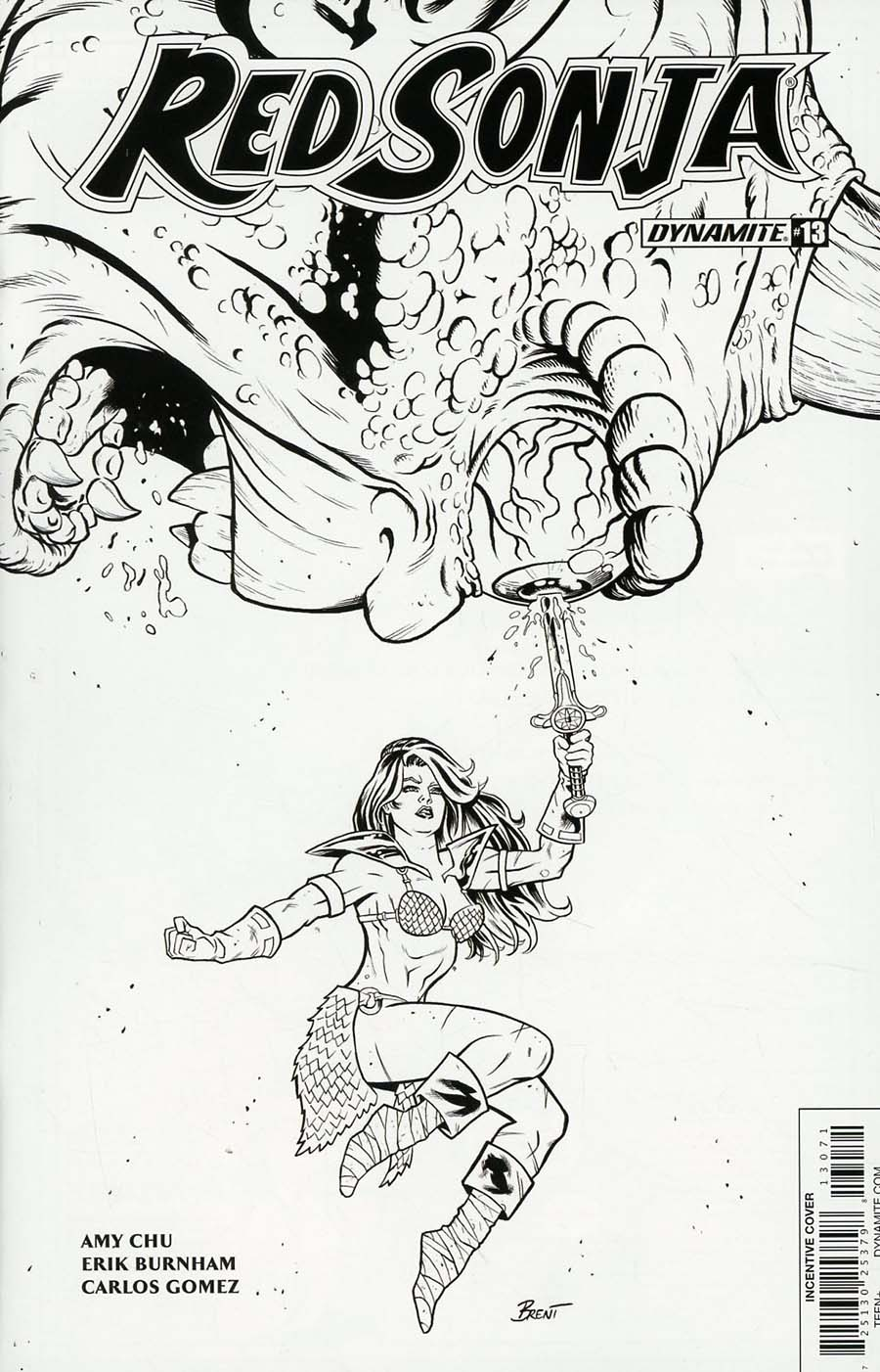 Red Sonja Vol 7 #13 Cover G Incentive Brent Schoonover Black & White Cover
