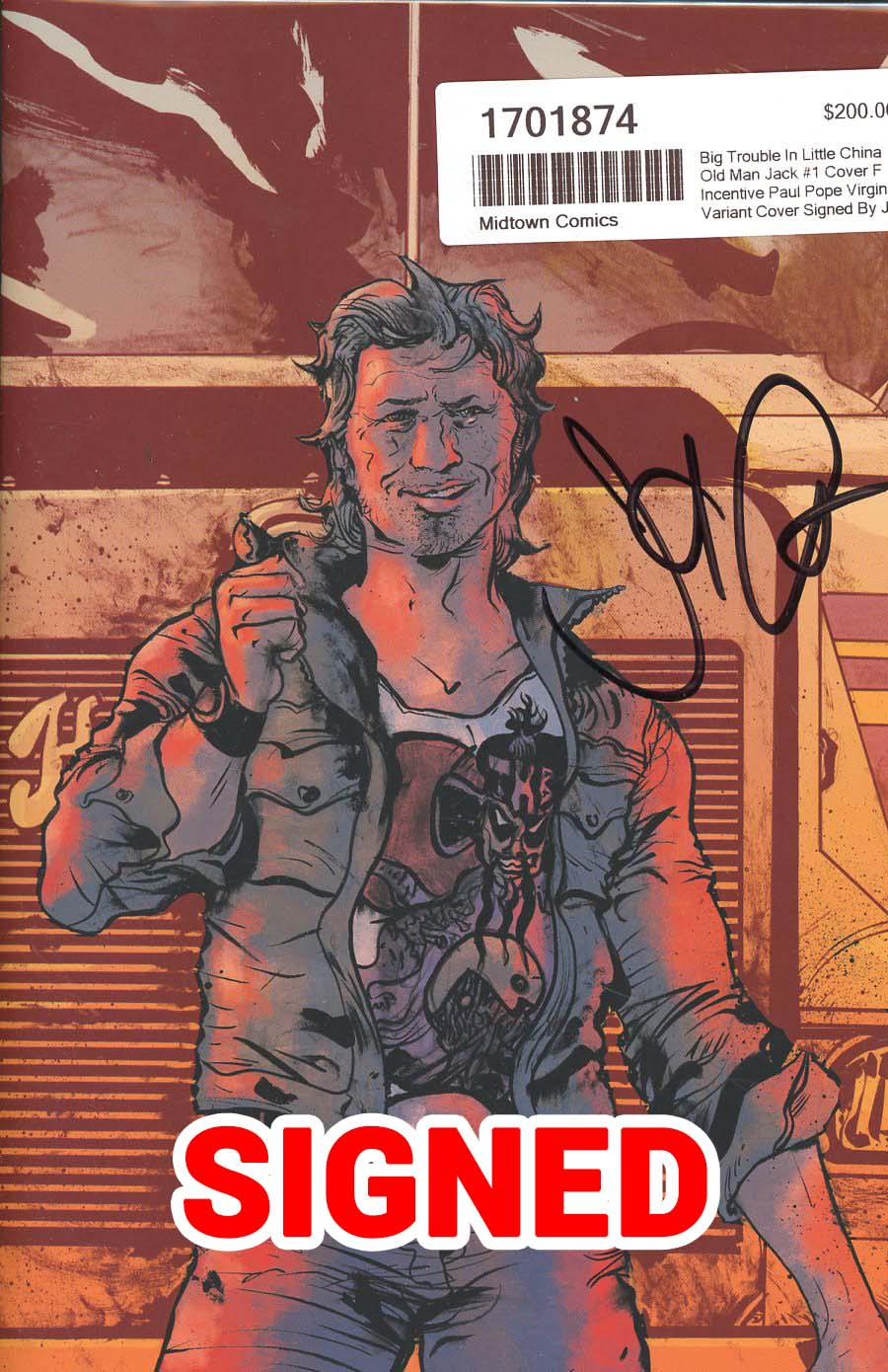 Big Trouble In Little China Old Man Jack #1 Cover F Incentive Paul Pope Virgin Variant Cover Signed By John Carpenter