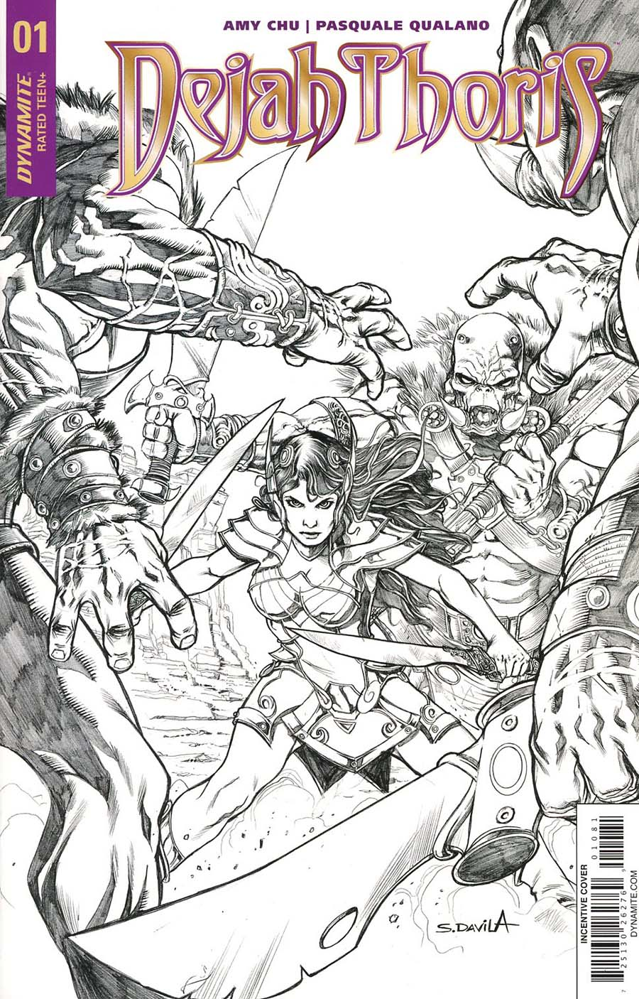 Dejah Thoris Vol 2 #1 Cover I Incentive Sergio Davila Black & White Cover