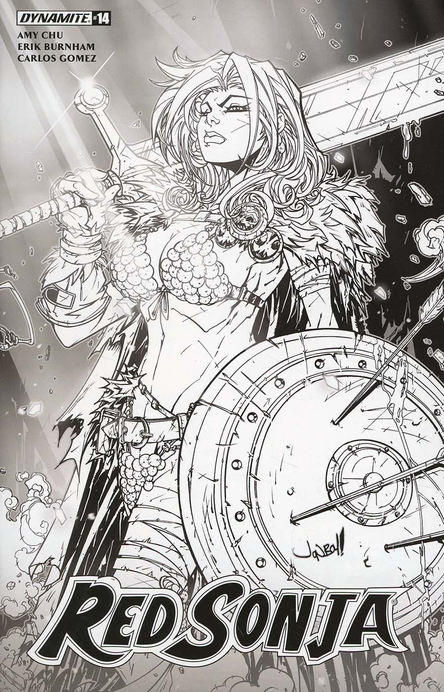 Red Sonja Vol 7 #14 Cover F Incentive Jonboy Meyers Black & White Cover
