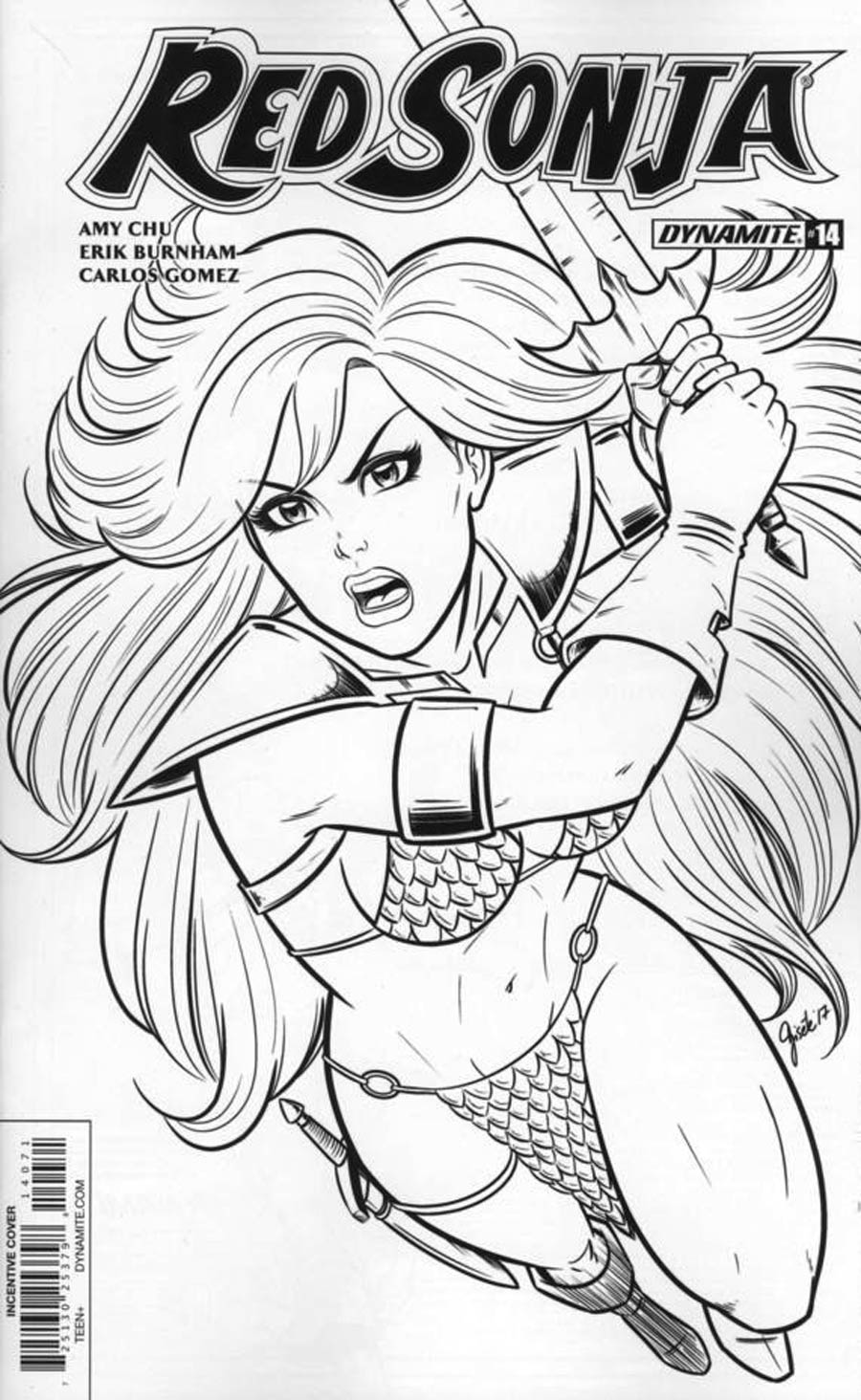 Red Sonja Vol 7 #14 Cover G Incentive Gisele Lagace Black & White Cover