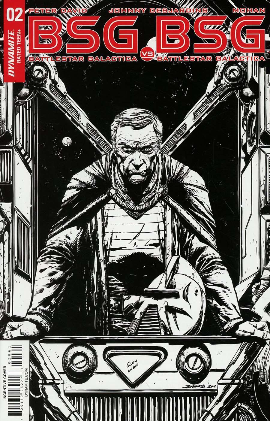 Battlestar Galactica vs Battlestar Galactica #2 Cover F Incentive Johnny Desjardins Black & White Cover