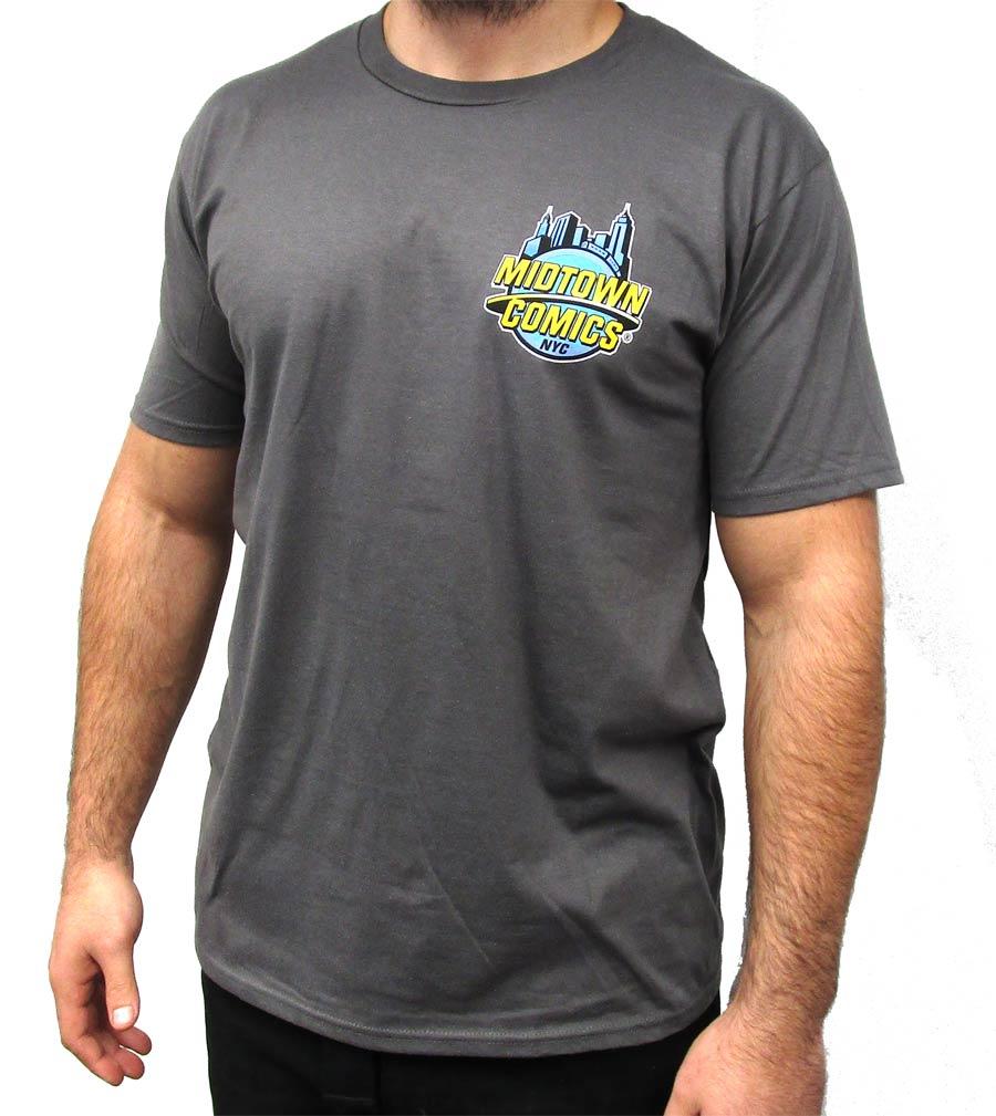 Midtown Comics Logo Mens Charcoal T-Shirt Large